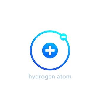Icône de l'atome d'hydrogène sur blanc