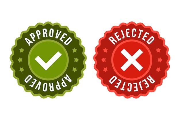 Icône d'autocollant d'étiquette approuvée et rejetée