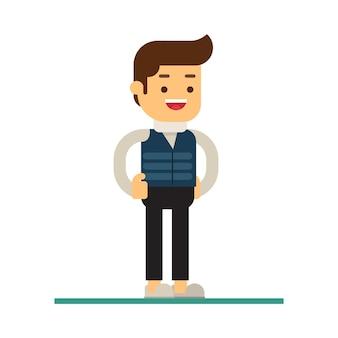 Icône d'avatar de caractère homme. homme en vêtements de saison d'automne