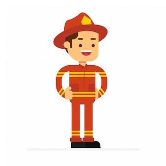 Icône d'avatar de caractère homme. pompier en uniforme