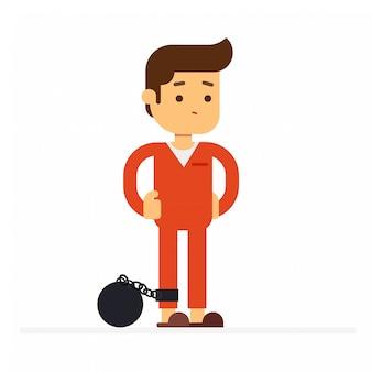 Icône d'avatar de caractère homme. prisonniers en prison