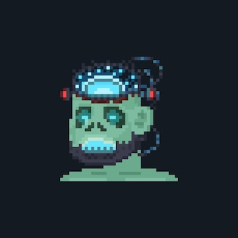 Icône d'avatar de caractère pixel art android frankenstein