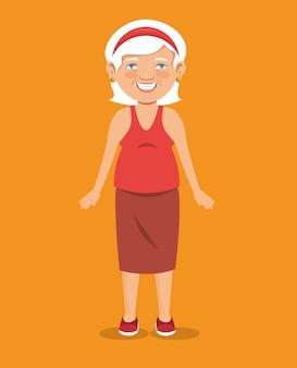 Icône d'avatar de caractère vieille femme