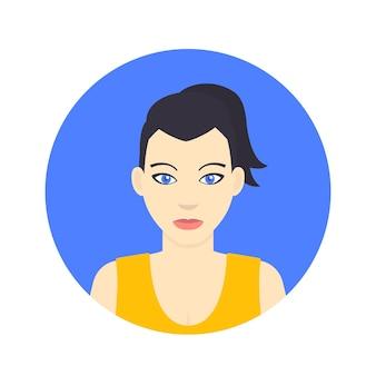Icône d'avatar, fille dans un style plat sur blanc, illustration vectorielle