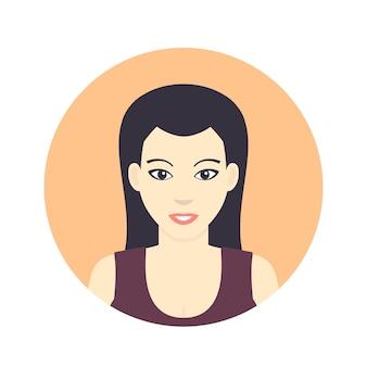 Icône d'avatar, fille, femme dans un style plat sur blanc, illustration vectorielle