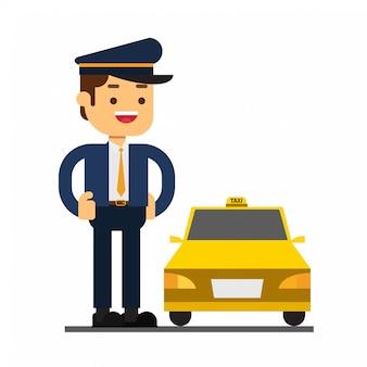 Icône d'avatar de personnage homme. conducteur de taxi