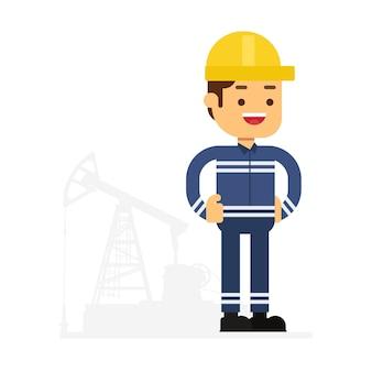 Icône d'avatar de personnage homme. personnage oilman dans un uniforme bleu debout à côté de la plateforme