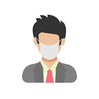 Icône d'avatar portant un masque protecteur. mâle dans un style plat avec masque médical. illustration vectorielle