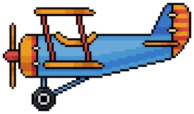 Icône d'avion biplan pixel art pour jeu de bit sur fond blanc