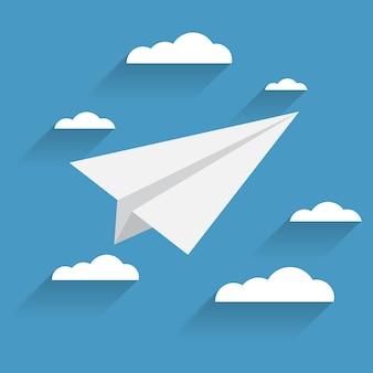 Icône avion et nuages plat sur fond bleu