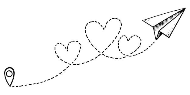 Icône d'avion en papier doodle. avion en papier dessiné à la main avec chemin du coeur. amour itinéraire d'avion. illustration vectorielle.