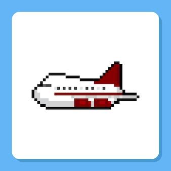 Icône d'avion de pixel art dessin animé blanc rouge