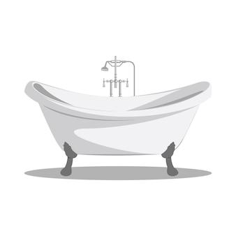Icône de baignoire rétro bande dessinée blanc avec bras et jambes et ombre au bas