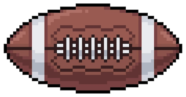 Icône de ballon de football américain pixel art pour bit de jeu sur fond blanc