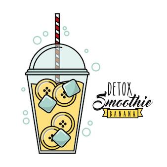 Icône banana detox. smoothie et juice design. graphique de vecteur