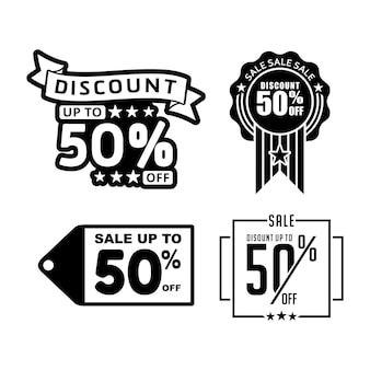 Icône de bannière d'étiquette de remise de 50 pour cent pour le vecteur de promotion des ventes