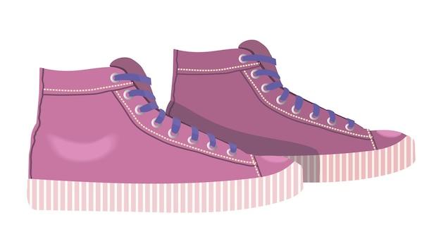 Icône de baskets femmes baskets roses isolées sur fond blanc chaussures de sport