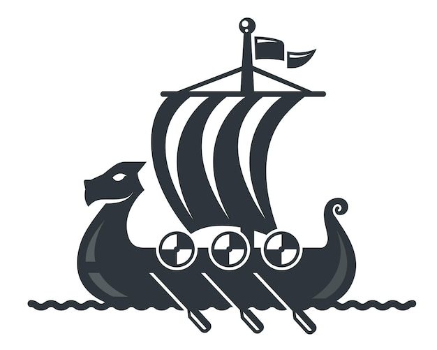 Icône de bateau viking noir avec voile et rames. illustration vectorielle plane.