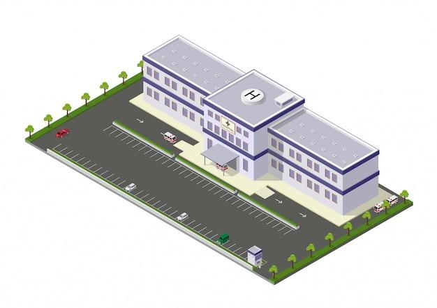 Icône de bâtiment d'hôpital isométrique