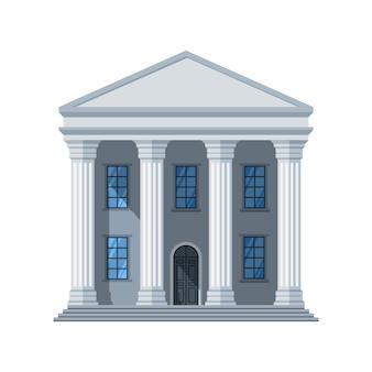Icône de bâtiment public plat de vecteur. bâtiment de la ville administrative isolé sur blanc