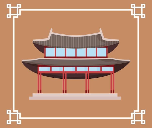 Icône de bâtiment traditionnel corée du sud