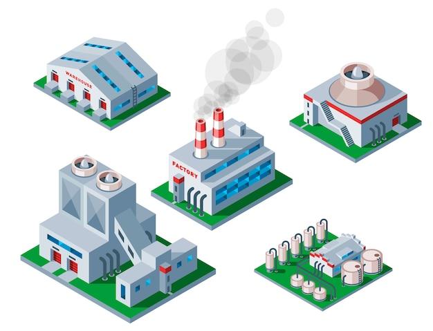 Icône de bâtiment d'usine isométrique symbole d'entrepôt d'élément industriel.