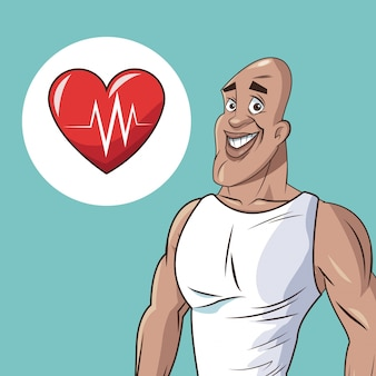 Icône de battement de coeur homme athlétique en bonne santé