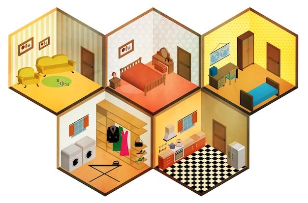 Icône de belles chambres isométriques