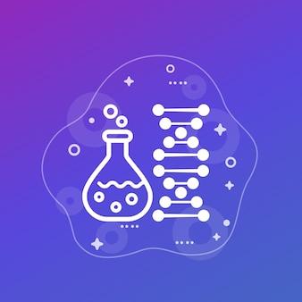 Icône de biotechnologie et de tests génétiques avec verre de laboratoire et adn, vecteur