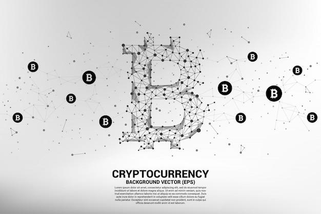 Icône bitcoin de la ligne polygon dot connect.