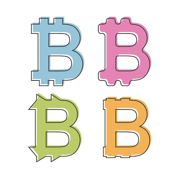 Icône bitcoin simple et plate - logo. quatre variations - différentes couleurs et formes. isolé sur blanc - illustration vectorielle de style plat