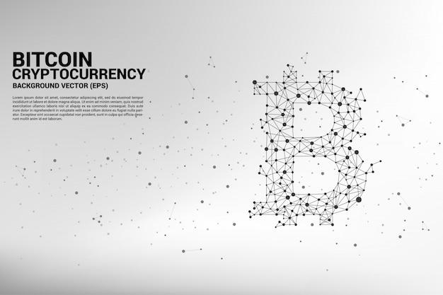 Icône de bitcoin vecteur de la ligne de connexion point polygone. concept de crypto-monnaie