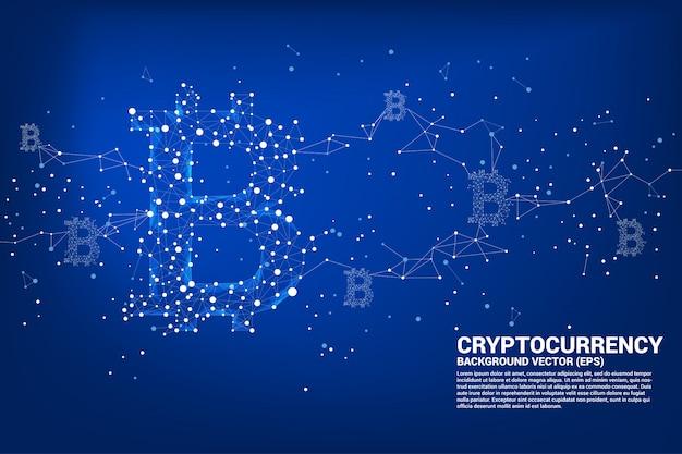 Icône de bitcoin vecteur de la ligne de connexion point polygone.