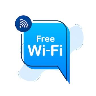 Icône bleue de zone wifi gratuite. le wifi gratuit ici signe le concept. illustration vectorielle de stock.