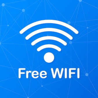 Icône bleue de la zone wifi gratuite. wifi gratuit ici signe concept.
