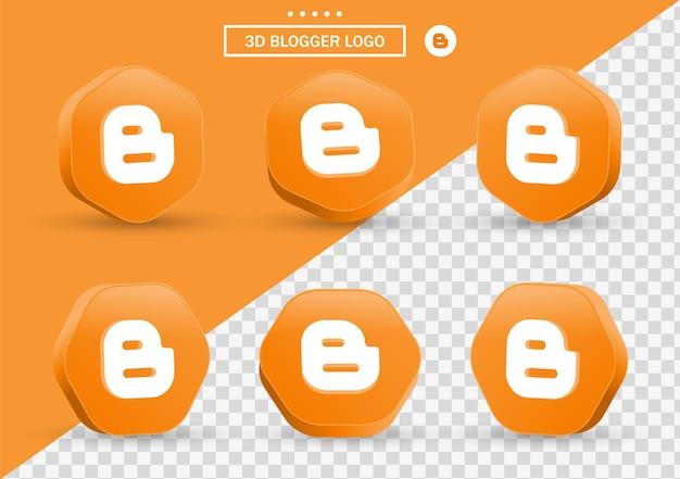 Icône de blogueur 3d dans un cadre de style moderne et un polygone pour les logos d'icônes de médias sociaux