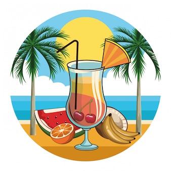 Icône de boisson cocktail tropical