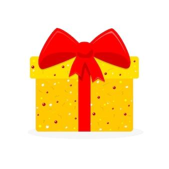 Icône de boîte cadeau mignon au design plat
