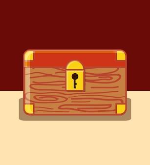 Icône de boîte de coffre sur fond marron