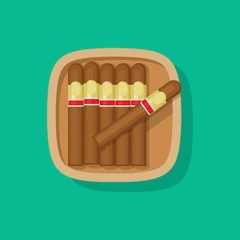 Icône de boîte ou étui en bois de cigare cubain