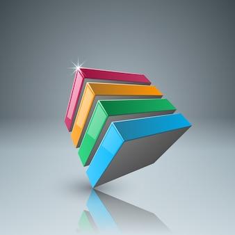 Icône de boîte de quatre couleurs.