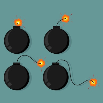 Icône de bombe avec des étincelles
