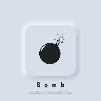 Icône de bombe. logo de la bombe. vecteur. icône de l'interface utilisateur. bouton web de l'interface utilisateur blanc neumorphic ui ux.