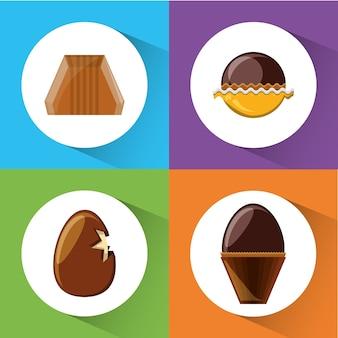 Icône de bonbons au chocolat sur des carrés colorés