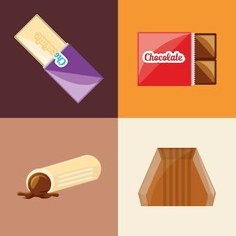 Icône De Bonbons Au Chocolat Sur Des Carrés Colorés Vecteur Premium