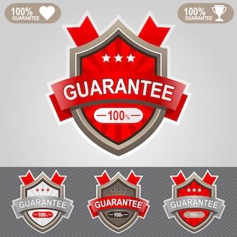 Icône de bouclier de garantie rouge badges web