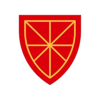 Icône de bouclier médiéval. illustration vectorielle dessin animé plat icône de protection de bouclier. signe d'équipement de défense