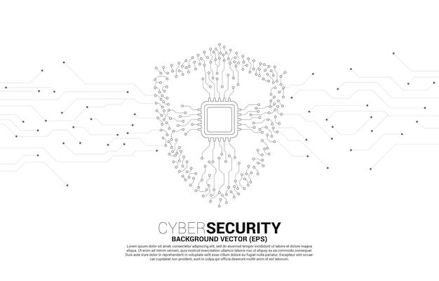 Icône de bouclier de protection avec cpu de la ligne de connexion par points de style carte de circuit imprimé. concept de sécurité et de sûreté de garde