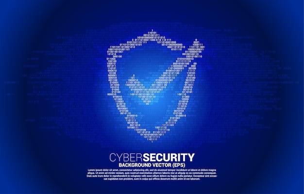 Icône de bouclier de protection d'un et zéro style de matrice de code binaire. concept de sécurité et de sûreté de garde