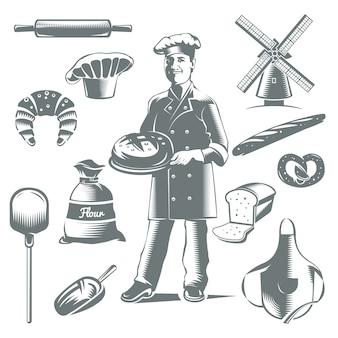 Icône de boulangerie vintage sertie d'éléments gris isolés gâteaux et cuisinier